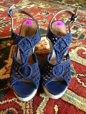 Lucky Brand Crochet Wedge Sandal Navy Blue 8.5 Super Cute!!!