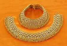 43  Indian BellyDance Jewelry Anklet Set Gold Plated Bridal Wedding Chain Payal