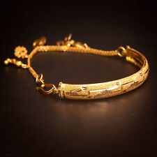 Classic Handmade Charm Bangle Bracelet In Solid Stamped 22Carat Fine Yellow Gold