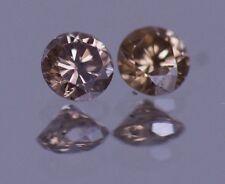 0.50 CARAT CHAMPAGNE BROWN DIAMOND 100% NATURAL PAIR 4.0 mm REAL IMAGE ASSAR