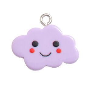 10Pcs Cute Smile Faces Resin Cloud Pendants Charm DIY Jewelry Findings Making