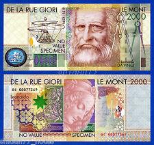 De La Rue Giori Leonardo Da Vinci Le Mont 2000 Specimen Test Note Unc