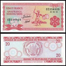 BURUNDI 20 FRANCS (P27c) 1991 UNC