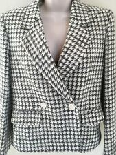 Vtg Womens Houndstooth Wool Blazer Jacket Sz 4 Made Expressly for Saks Fifth Ave