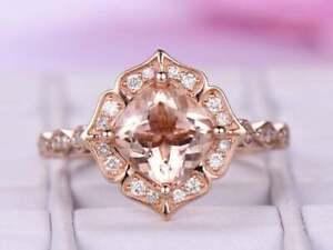 2Ct Cushion-Cut Morganite Vintage Halo Engagement Ring 14K Rose Gold Finish