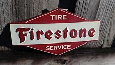 FIRESTONE TIRE SERVICE METAL SIGN RAISED LETTERS 11 BY 6 INCHES GAS GARAGE SHOP