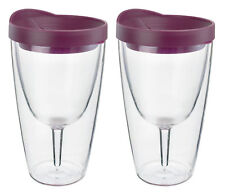 Insulated Wine Tumbler 16oz Merlot Drink Slide Lid Acrylic Adult  Cup 2 Pack