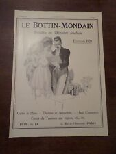 Publicité ancienne septembre 1919 le Bottin Mondain Paris 29,5 x 41 advert