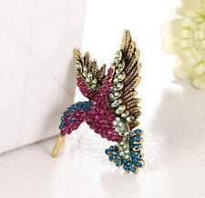 Teal blue hot pink aurora iridescent Hummingbird crystal rhinestone pin brooch
