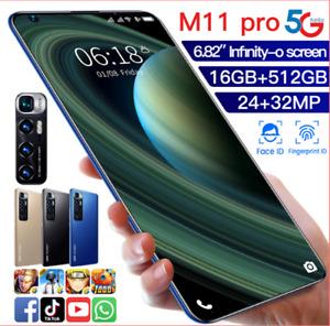 M11 PRO Téléphone Android 10.0 Smartphone 6,82'' 8G RAM 128G Double SIM 5G LTE