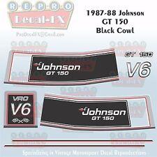 1987-88 Johnson GT150 Black Cowl V6 Sea-Horse Outboard Repro 8 Pc Vinyl Decals