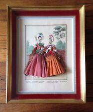 Tableau de mode Illustrée Habillage Tissu Ancien Encadrement dorure French Antic
