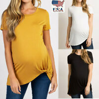 Women Mom Maternity Summer Short Sleeve Tops Tie Casual Solid Pregnancy T Shirt