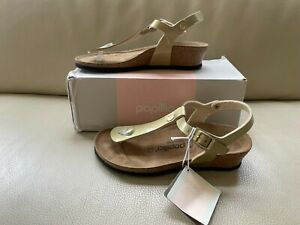 "Birkenstock Papillio Sandals Women's Size 38 ""Ashley"" - Gold Demi Wedge NIB"