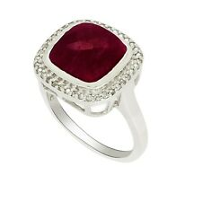 Cushion Cut Indian Ruby Created 925 Silver women Wedding Engagement Ring CZ Band