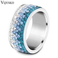 6/7/8/9# different Color Line Crystal Fashion Jewelry Ring Wholesale Fashion Sta