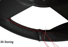 FOR NISSAN SKYLINE R34 99-02 REAL BLACK LEATHER STEERING WHEEL COVER RED STITCH