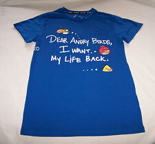 Angry Birds Want My Life Back Mens Blue Printed T Shirt Size XS New