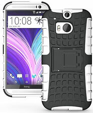White Heavy Duty Strong Tradesman TPU Hard Case Cover Stand for HTC One M8