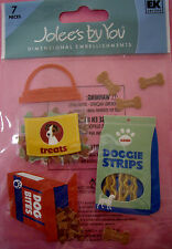NEW 7 pc DOGGIE TREATS Biscuits Bones Strips Bites Dog Puppy JOLEE'S 3D Stickers