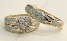 3ct d vvs1 diamond wedding his her 3 pcs trio ring band set 14k yellow gold over