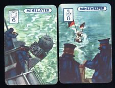 Rare 1940s WWII Royal Navy WARSHIPS SWAP CARDS MINELAYER, MINESWEEPER