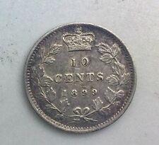 Canada 1899 Small 99  Victoria  10 Cents Silver Nice  Collectors Coin