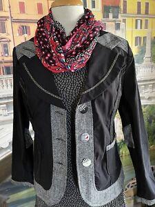 Gitane On Style Black And White Trim Jacket Size 12 Stylish Fitted LightJacket
