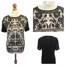 Warehouse Top 10 Black Patterned Top Short Sleeved  Floaty Blouse Spring Ditzy