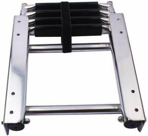 Marine Stainless Steel 4 Steps Boat Ladder Telescoping Heavy Duty Ladder