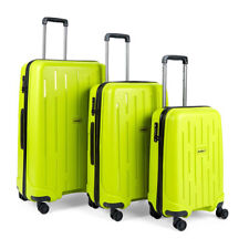Antler Lightning 3 Piece Suitcase Set in Green Hard Side 4 Wheels Fixed TSA Lock