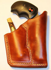 NAA Black Widow fixed sights gun and knife holster- Tan Leather -