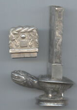 Old CHINA SILVER TURTLE & Dragons Match Safe Stand