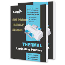 Koala 100 Sheets 5 Mil 11.5x17.5 Thermal Laminating Pouches Letter Size 11x17