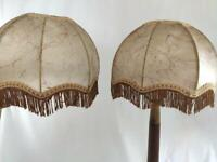 Vintage PAIR of Parchment Style Lamp Shades from France with Fringe #10