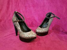 Plataforma De Satén Zapatos De Brillo Multi de fusión & Heels extraíble correa de tobillo Talla 6