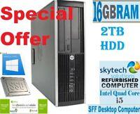 Fast HP Elite 8200 SFF Intel Core i5 16GB RAM 2TB HDD Windows 10 Desktop PC WiFi