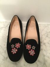Girls Il Gufo Velvet Smoking Slippers / Shoes / Loafers. Made In Italy. SZ 35.