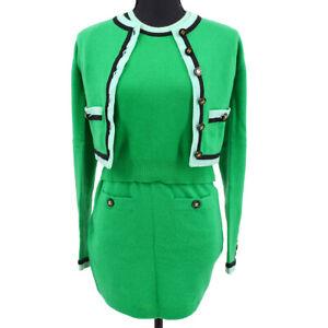CHANEL 3 Pieces Setup Cardigan Short Sleeve Tops Skirt Green Light Blue 70853