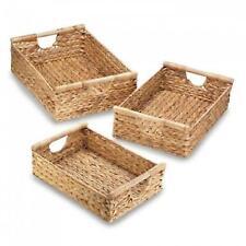 Water Hyacinth Nesting Baskets 3pc Set Stylish Storage Organization