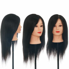 """100% 20"""" Real Hair Practice Training Mannequin Head Hairdressing Doll + Clamp"""