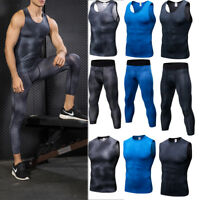 Men's Compression 3/4 Tights Gym Athletic Tank Tops Spandex Base Layers Wicking