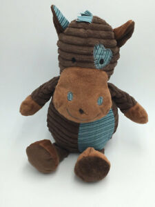 DanDee Brown Blue Tan Horse Pony Cow Ribbed Stripe Texture Heart Stuffed Animal