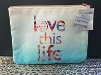 Love This Life Blue MULTI Color Fashion Women Accessories Cosmetic Case Bag NEW