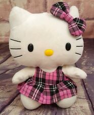 "Ty Hello Kitty 9'"" Plush Black & Pink Plaid Dress Beanie Buddies Collection EUC"