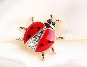 Ladybird Brooch Lapel Pin Quirky Garden Insect Red Enamel Rhinestones Ladybug v2