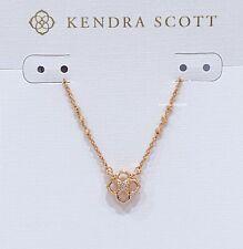 Authentic Kendra Scott Rue Clover Logo Short Pendant Rose Gold Necklace