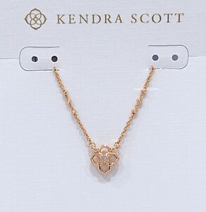 NEW Authentic KENDRA SCOTT Rue Clover Logo Short Pendant Rose Gold Necklace