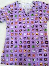 Bring It On Scrub Top Small Womens Halloween Nurse Purple Cat Bat Candy Corn