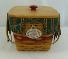 Longaberger 1995 Christmas Collection Cranberry Basket  Lid, Liner, & Protector